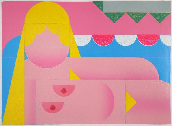 Benjamin Badock, Aufstellung – Altrosa - blond, 2014, 43,8 x 59,6cm, Hochdruck