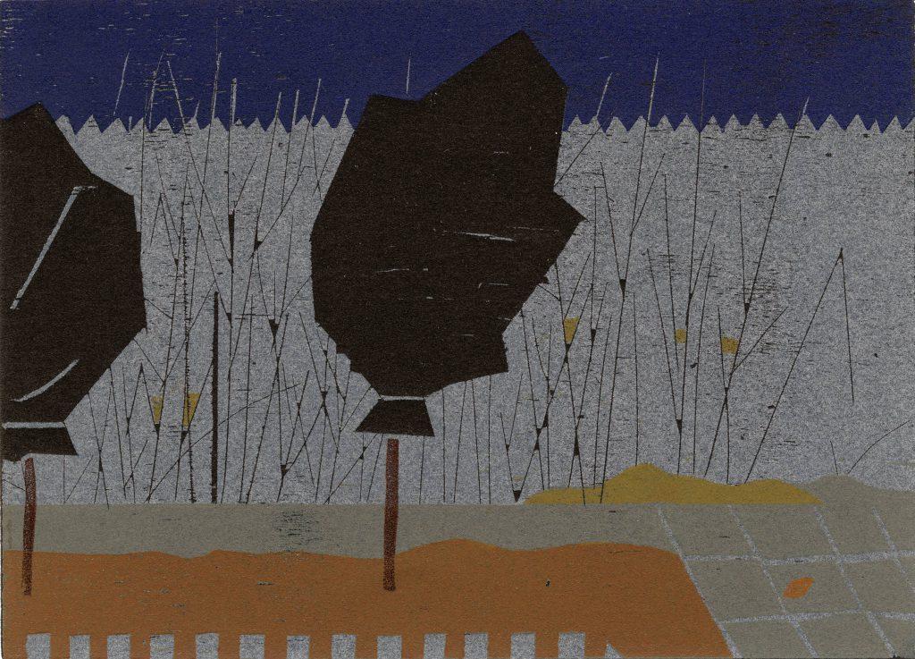 Tina Steinbach, Eingepackt, 2017, 15 x 21 cm, Farblinolschnitt