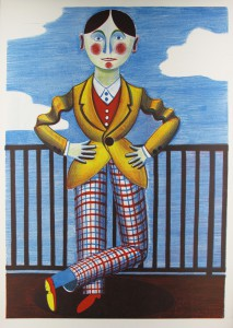 o.T. (Mann am Geländer), 2008, 106x76cm, Lithografie/5-farbiger Zinkplattendruck