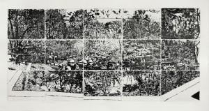 Matthias Weischer, 15 Blicke, 2009, 90 x 162 cm, Radierung