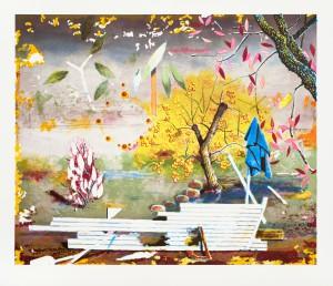 Matthias Weische, Landung, 2012, 59x71, 30x21, Tuschelithografie