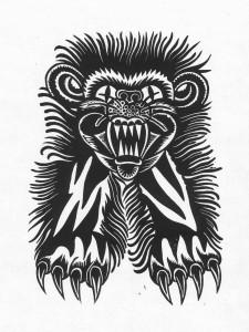 Nasser Hund(Tiger), 2012, 40x30, Linolschnitt