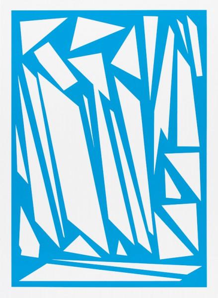 Franziska Holstein, o. T. (blau, 5:19), 2014, 64,6 x 47,2 cm. Handoffsetdruck