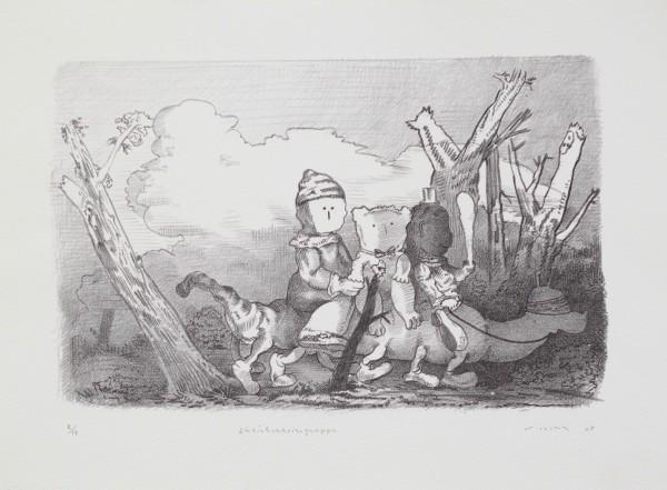 Steve Viezens, Züricher Reisegruppe, 2007, 23x36cm, 44,5x33,5cm, Lithografie, 17