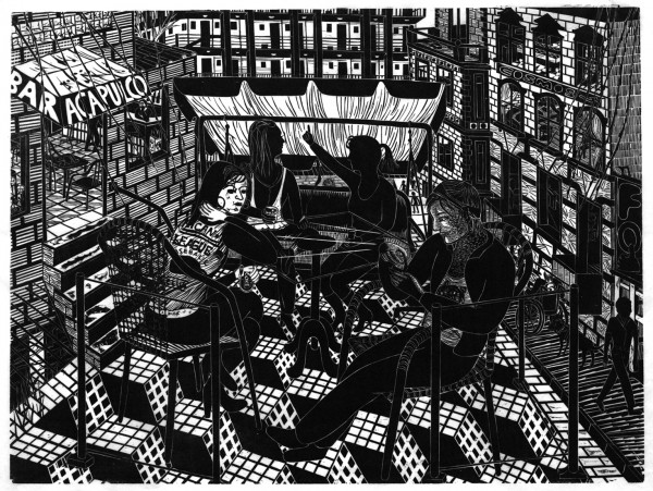 Gabriela Jolowicz, Acapulco, 2009, Holzschnitt auf Papier, Druckmaß 45 x 60 cm, Auflage: 10