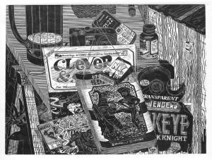 Gabriela Jolowicz, Zoom In, 2014, Holzschnitt auf Papier, Druckmaß 45 x 60 cm, Auflage: 10