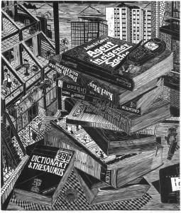 05_London Pile, 2010, Holzschnitt auf Papier, Druckmaß 45,0 x 38,5 cm, Papiermaß 55,5 x 48,5 cm, Auflage 7