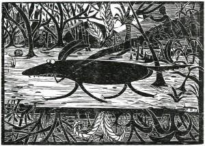 Gabriela Jolowicz, Der Mutz, 2014, Holzschnitt auf Papier, Druckmaß 21 x29,6cm, Auflage 10