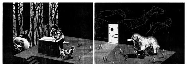 Franca Bartholomäi, Im Gehäuse (Eremitin), 2015 Holzschnitt-Diptychon, Holzschnitt