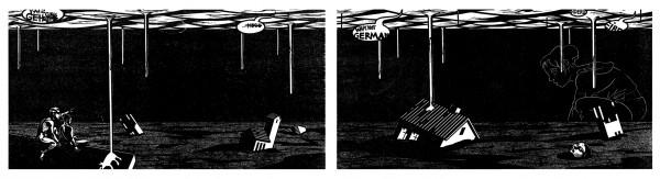 Franca Bartholomäi, KULISSENKINDER (Shrinking City I+II), 2008 Holzschnitt-Diptychon