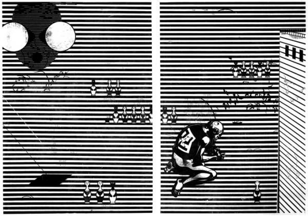 Franca Bartholomäi, CRONOS (Antifa/Maske), 2011 Holzschnitt-Diptychon