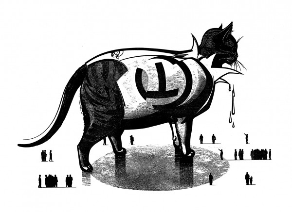 Franca Bartholomäi, Apocalypty CAT (Großes Tier), 2011 Holzschnitt