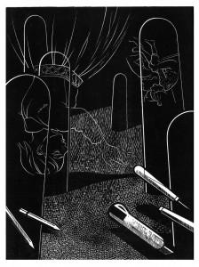 Franca Bartholomäi, MELENCOLIA INFANTILIS (Werkzeug), 2013 Holzschnitt