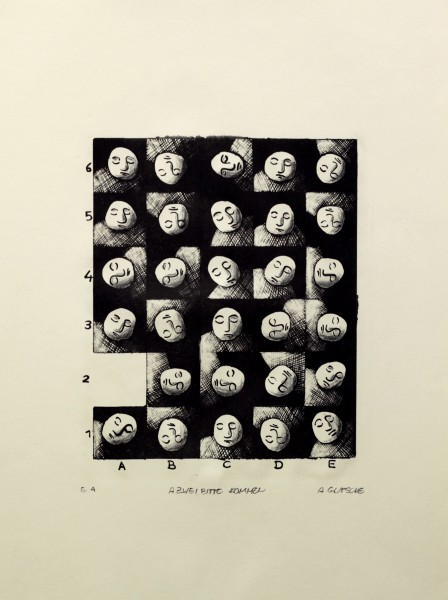 Alexander Gutsche, A2 bitte kommen, 1999, Auflage e. a., Grafikmaß- 27 x 21 cm, Blattmaß- 51 x 36,5 cm, Lithografie