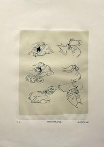 Alexander Gutsche, Atemspende, 1999, Auflage e. a., Grafikmaß- 31 x 23 cm, Blattmaß- 51 x 36,5 cm, Lithografie