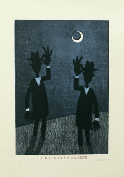 Alexander Gutsche, Der Ein oder Andere, 2011, Auflage- 4:12, Grafikmaß- 37 x 25 cm, Blattmaß- 50 x 35 cm, Holzschnitt-Materialdruck