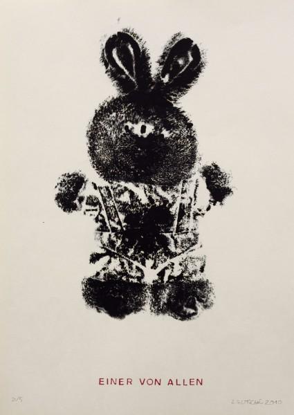 Alexander Gutsche, Einer von Allen, 2010, Auflage- 3:5, Grafikmaß- 28,5 x 17,5 cm, Blattmaß- 42 x 29,5 cm, Holzschnitt:Materialdruck