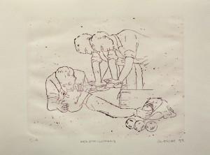 Alexander Gutsche, Herzstillstand, 1999, Auflage e. a. , 3 Versionen, Grafikmaß- 24 x 29 cm, Blattmaß- 36 x 51 cm, Lithografie