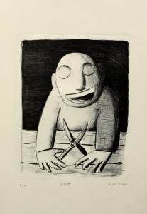Alexander Gutsche, Idiot, 2000, Auflage e. a., Grafikmaß- 33 x 24 cm, Blattmaß- 51 x 36,5 cm, Lithografie