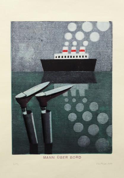 Alexander Gutsche, Mann über Bord, 2011, Auflage- 8:12, Grafikmaß- 35 x 26,5 cm, Blattmaß- 50 x 35 cm, Holzschnitt-Materialdruck