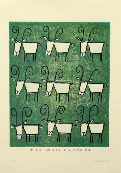 Alexander Gutsche, Mecklenburg-Vorpommern, 2011, Auflage- 6:12, Grafikmaß- 34 x 27,5 cm, Blattmaß- 42 x 29,5 cm, Holzschnitt-Materialdruck