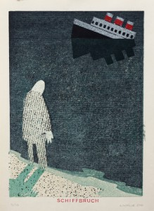 Alexander Gutsche, Schiffbruch, 2010, Auflage- 9:10, Grafikmaß- 36 x 26 cm, Blattmaß- 42 x 29,5 cm, Holzschnitt-Materialdruck