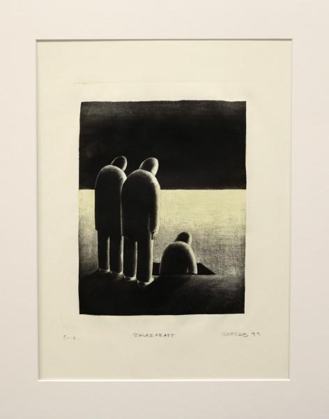 Alexander Gutsche, Schwerkraft, 1999, Auflage e. a., 2 Versionen, Grafikmaß- 27 x 20 cm, Blattmaß- 51 x 36,5 cm, Lithografie