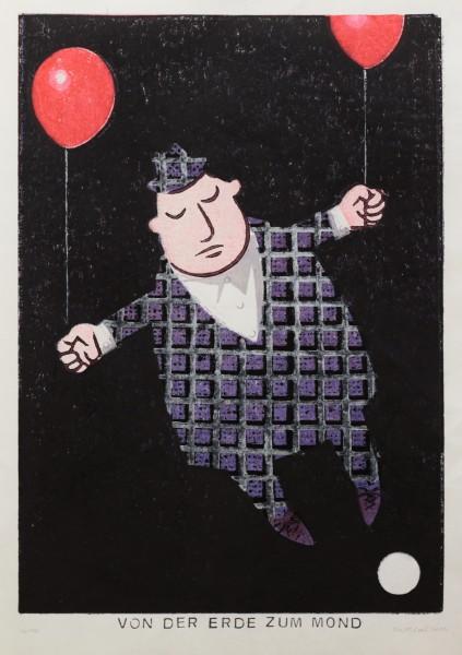 Alexander Gutsche, Von der Erde zum Mond, 2010, Auflage- 4/10, Grafikmaß- 37 x 26 cm, Blattmaß- 42 x 29,5 cm, Holzschnitt/Materialdruck
