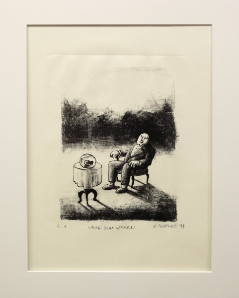 Alexander Gutsche, Wege zum Wissen, 1999, Auflage e. a., Grafikmaß- 28 x 22 cm, Blattmaß- 51 x 36,5 cm, Lithografie
