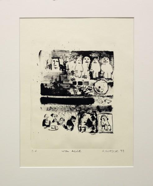 Alexander Gutsche, Wir alle, 1999, Auflage e. a. , Grafikmaß- 30 x 22,5 cm, Blattmaß- 50 x 35 cm, Lithografie