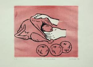 Alexander Gutsche, Innere Verletzungen, 1999, Auflage e. a. , 2. Versionen (rot), Grafikmaß- 22x26, Blattmaß 30x40cm, Lithografie