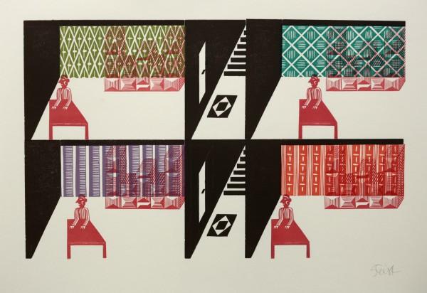 Christoph Feist, o.T., 2003, 36x57cm, 46x66cm, Unikat, Holzschnitt