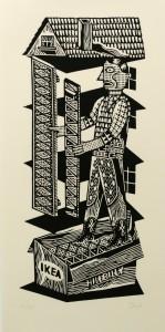 Christoph Feist, o.T., 2003, 55x25cm, 70x33cm, Holzschnitt