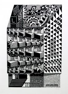 Christoph Feist, o.T., 2003, 59x40cm, 70x50cm, Holzschnitt
