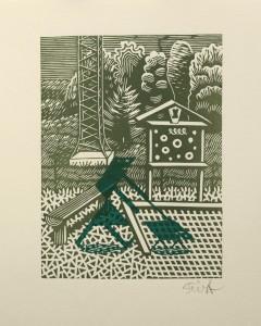 Christoph Feist, o.T. , 23,5x18cm, 35x28cm, Holzschnitt, Unikat