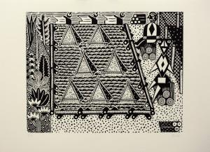 Christoph Feist, o.T. (Pyramiden), 2003, 50x70cm, Holzschnitt