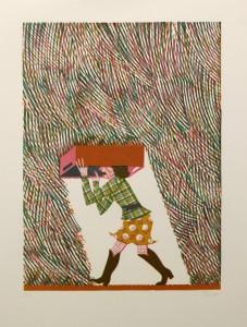 Christoph Feist, o.T. (Regen), 2003, 53x39cm, 70x50cm, Holzschnitt