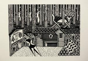 Christoph Feist, o.T. (Wald), 2003, 39x53cm, 50x70cm, Holzschnitt