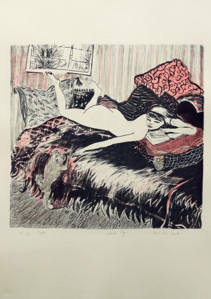 Rosa Loy, Fauler Tag-70 x 50 cm-41,5 x 44 cm-2014-Lithografie