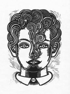 Sebastian Gögel, Junge Raucher Nr.1, 2012, 40x30, Linolschnitt