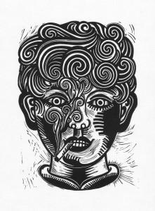 Sebastian Gögel, Junge Raucher Nr.2, 2012, 40x30, Linolschnitt