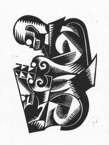 Kassierer, 2012, 40x30, Linolschnitt