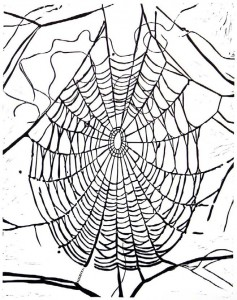 Katharina Immekus, oT (Spinnennetz), 2008, 48x38 cm, Linolschnitt