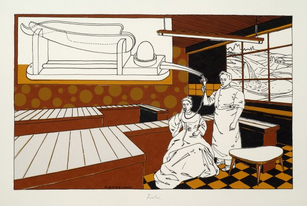 Kurmittelhaus, 2007, 35x55cm, Farbsiebdruck