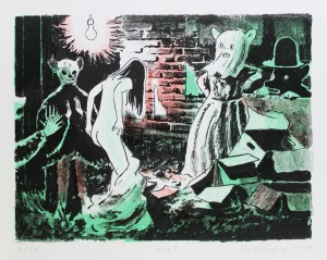 Tilo Baumgärtel, Los !, 2013, 30x40, 3-farbige Zinklithografie