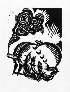 LuckyHands, 2012, 40x30, Linolschnitt