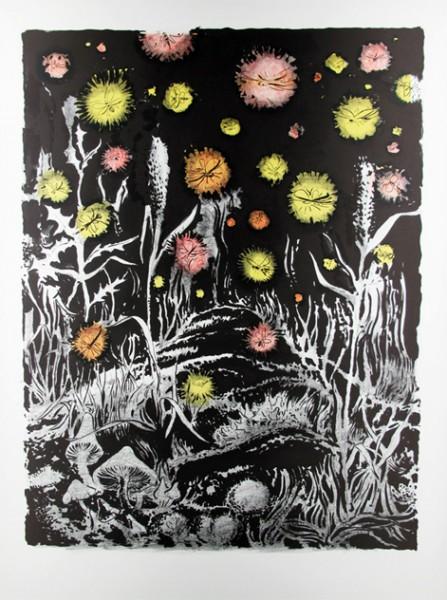 Tilo Baumgärtel, Nachtgarten, 2011, 102x76cm, Lithografie