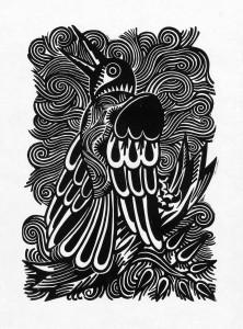 Nachtigal, 2012, 40x30, Linolschnitt