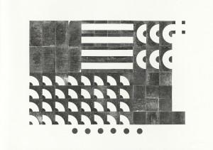 Stößel, o.T. (Murmelbahn komplett), 2014, Unikatdruck, 70x100cm