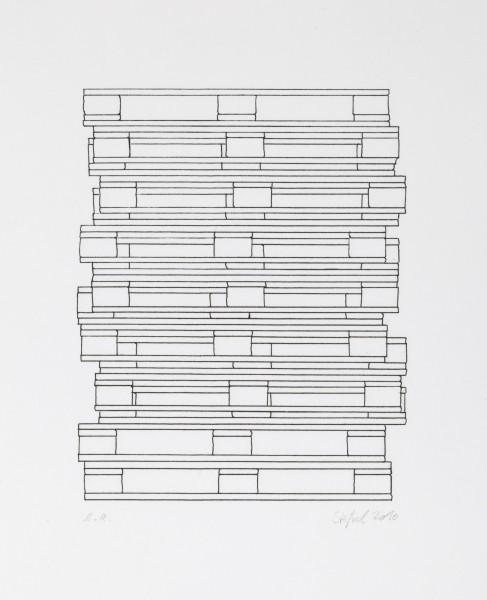 Stößel, Schema, 2010, Lithographie auf Bütten, 52 x 42 cm